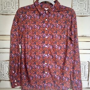 J Crew The Perfect Shirt Floral Orange Pink S